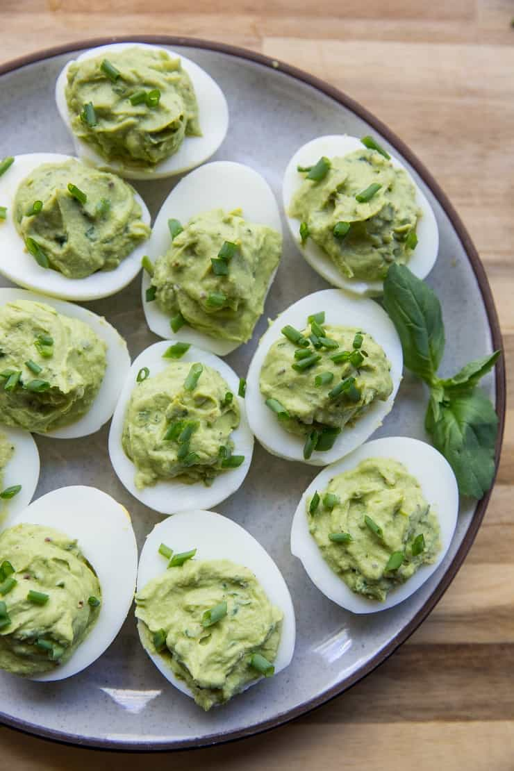 Avocado Boom Avocado Pesto Deviled Eggs