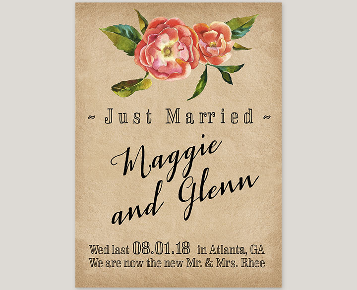 Vintage flower grunge wedding announcement cards - The Maggie the