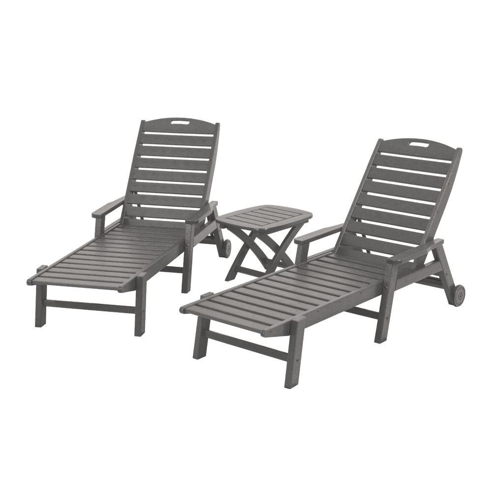 1000 Chaises Polywood 3 Piece Outdoor Chaise Lounge With Side Table The
