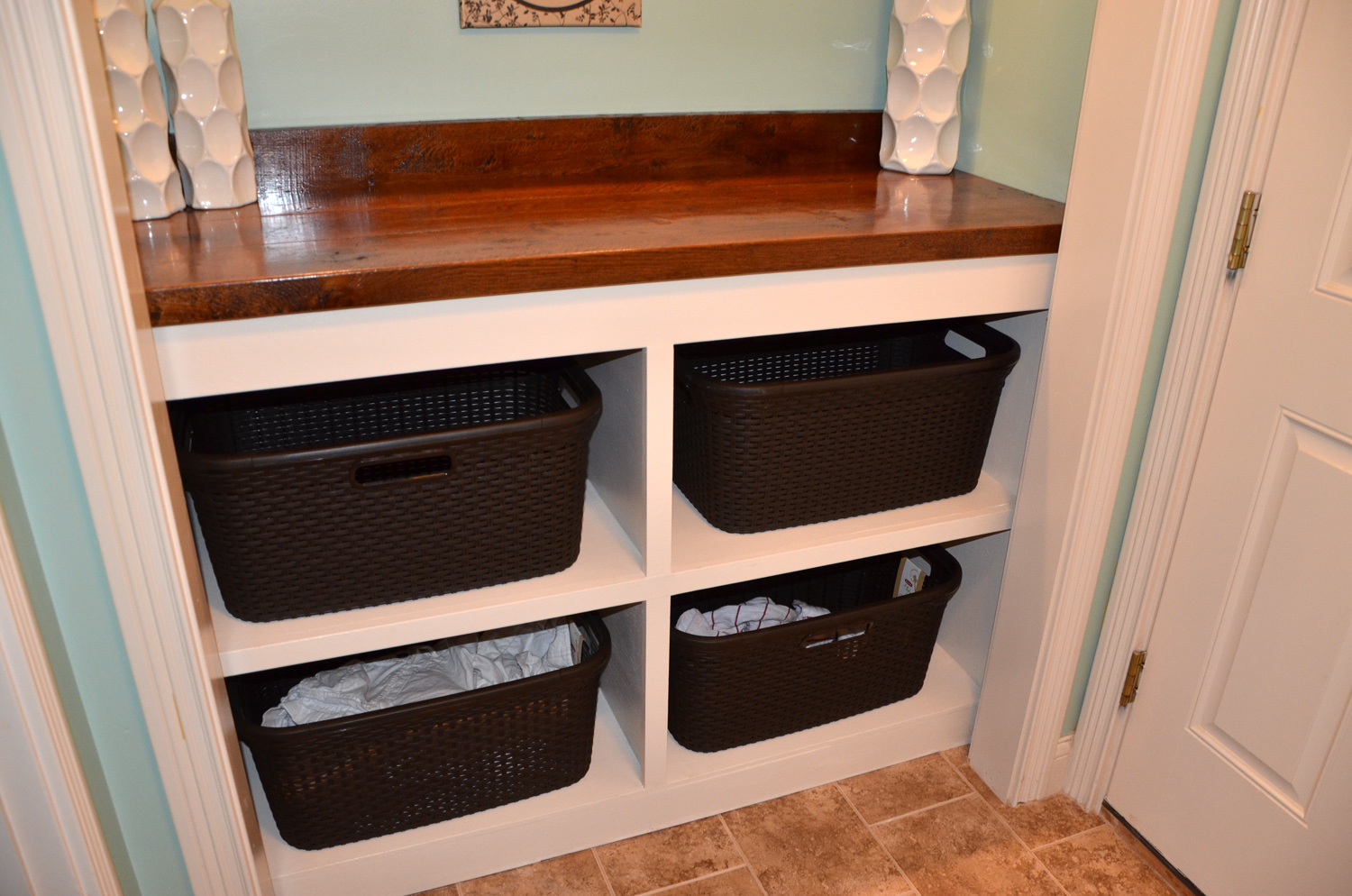 Laundry Room Countertop Material Laundry Room Closet Clothes Bin And Countertop Tutorial The