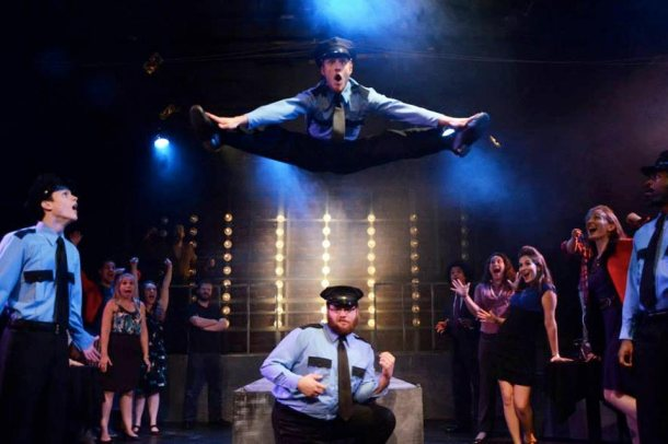 "That's Caleb Donahoe doing the splits in mid-air during the final scene of ""The Full Monty"""