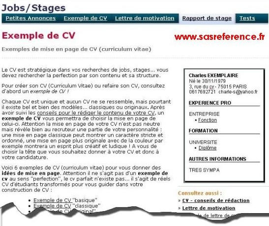 cv anglais referents