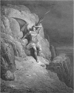 "Gustave Doré, Paradise Lost, Book IV (1866): ""Me miserable! Which way shall I fly / Infinite wrath, and infinite despair?"" (IV.73-74)"
