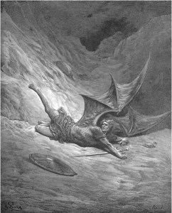 "Gustave Doré, Paradise Lost, Book VI (1866): ""Then Satan first knew pain, / And writhed him to and fro."" (VI.327-28)"