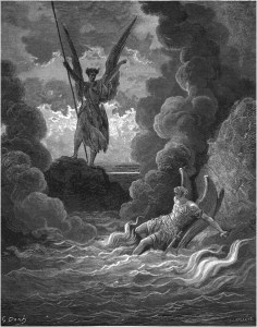"Gustave Doré, Paradise Lost, Book I (1866): ""Forthwith upright he rears from off the pool / His mighty stature."" (I.221-22)"