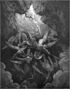 "Gustave Doré, Paradise Lost, Book VI (1866): ""Hell at last / Yawning received them whole."" (VI.874-75)"
