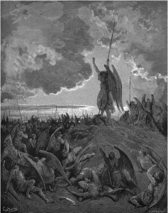 "Gustave Doré, Paradise Lost, Book I (1866): ""They heard, and were abashed, and up they sprung."" (I.331)"