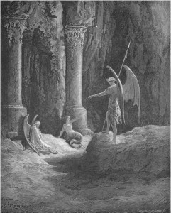 "Gustave Doré, Paradise Lost, Book II (1866): ""Before the gates there sat / On either side a formidable Shape."" (II.648-49)"