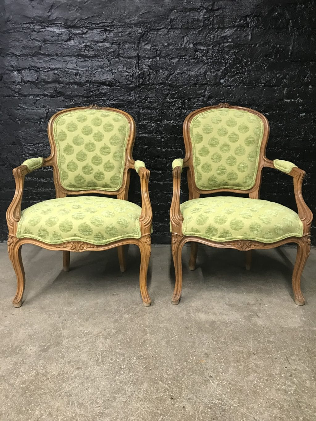 Pair Of Green French Louis Xvi Style Fauteuils The Savoy Flea
