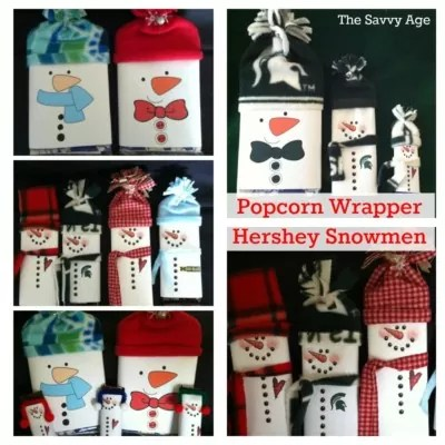 DIY Snowman Popcorn Wrapper  Snowman Candy Bar Wrapper - The Savvy Age