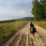 Riding through the potato fields
