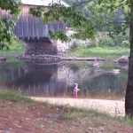 Back at the covered bridge for a hold.  Amanda is checking out the water