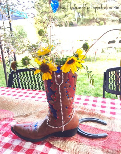 Bejeweled Cowgirl Boot Vase