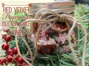 Red Velvet Peppermint Button Cake Cookies