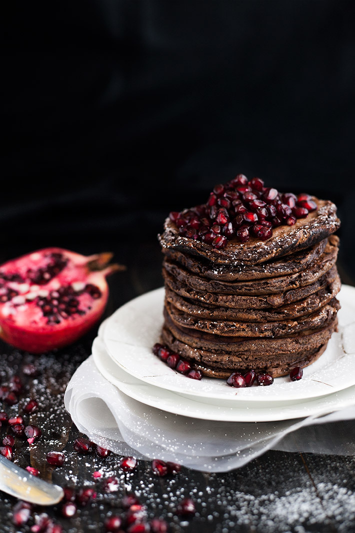 Chocolate Pancakes and Pomegranate