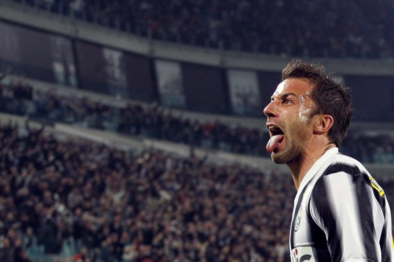 Juventus' Del Piero celebrates after scoring against Inter Milan during their Serie A soccer match in Turin