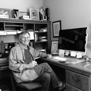 Bob at desk, b&w, 0915