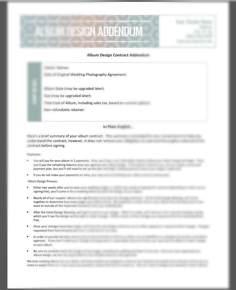 Wedding Album Contract Addendum - The Shoot Space