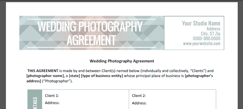 Wedding Photography Contract - The Shoot Space