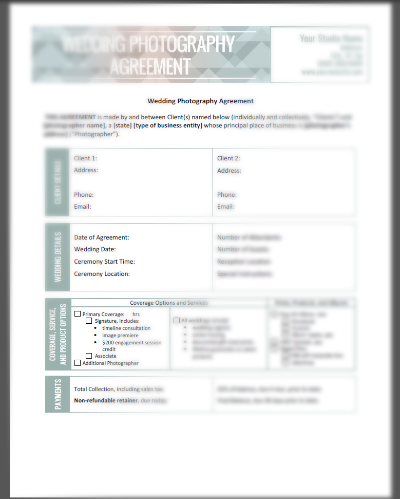 Photographer\u0027s Contract Kit - Complete Bundle - The Shoot Space - photography services contract