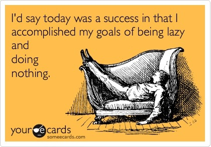 someecards.com - I'd say today was a success in that I accomplished my goals of being lazy and doing nothing.