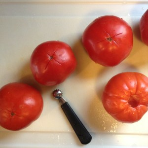Core those tomatoes, then make an X on the bottom. I was smart this year and got huge, meaty 'maters instead of Romas. Romas are nice ... but there's something to be said about huge beefy tomatoes, mostly that they take less time to peel.