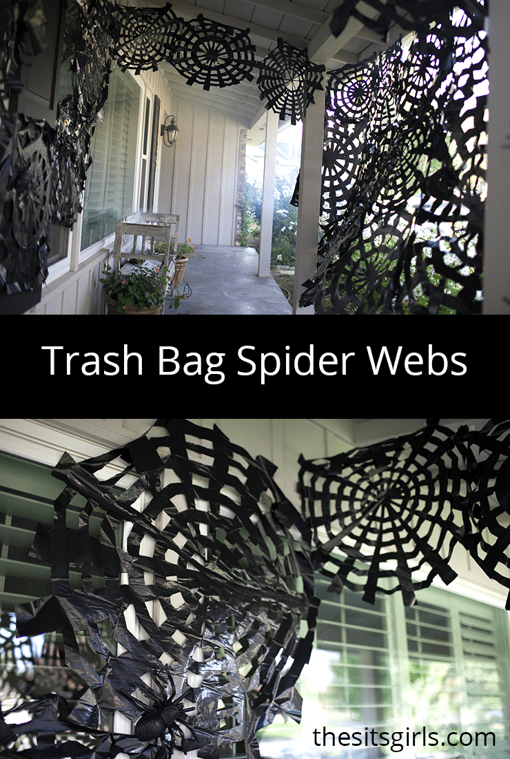 Fun Trash Can Trash Bag Spider Webs Easy Halloween Decor Spooky Spider Webs