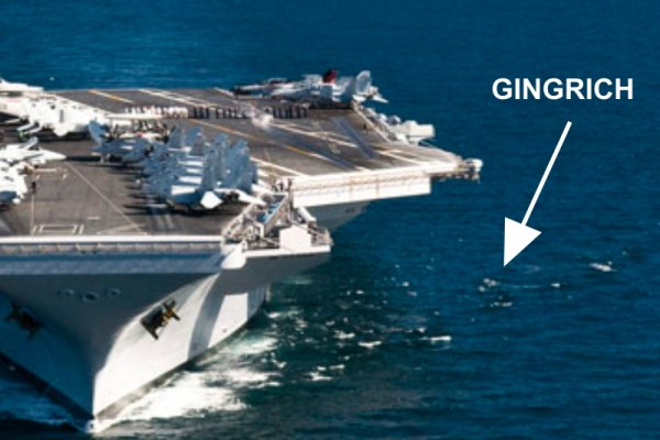 Gingrich Accidentally Buried at Sea