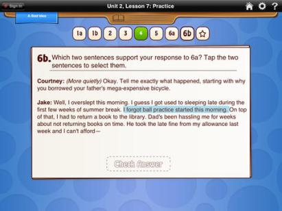 HMH Common Core Reading Practice and Assessment Grade 5 iPad Review screenshot