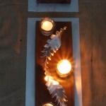 Centros de mesa Cardusk Escultura realizada en chapa de aluminio y madera reciclada