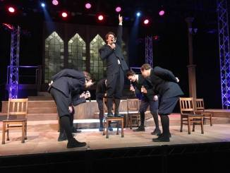 "Jeremy Hammer (on chair) played Melchior Gabor in ""Spring Awakening"". (Josh Rittberg/Snapper)"