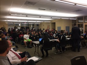 The Center of Student Involvement and Leadership was a hub of activity on March 2, 2017. MU community members attended the Student Senate meeting to make sure their voices and opinions were heard. Photo courtesy of Gloria Chung.
