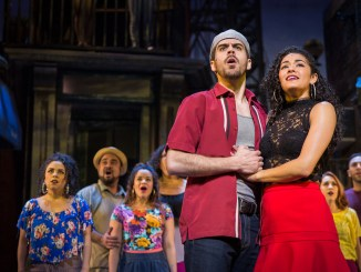Diego Klock-Pérez (Usnavi) and Kalyn West (Vanessa) with cast members of the Fulton Theatre's production of In The Heights through April 4, 2017. For tickets and more information theFulton.org