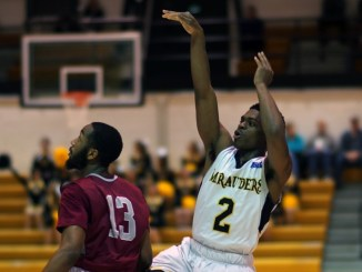 Marcus Adkison takes advantage of an open look against Cheyney. (Photo Courtesy of MU Athletics)