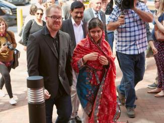 Malala and Matt tour Lancaster city. Photo courtesy of Mollie Swartz.