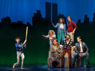 Anthony Rosenthal with the cast of Falsettos.