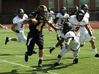 After losing Collin Shank to an injury, 3rd-string quarterback Stephen Flanagan rushed for a touchdown against Cal U.