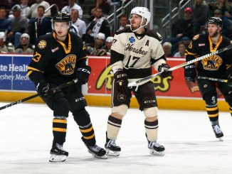 Chris Bourque (center) plays left wing for the Bears. Photo Courtesy of JustSports Photography