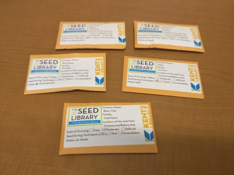Seeds I borrowed from the Seed Library of the Kent Free Library.