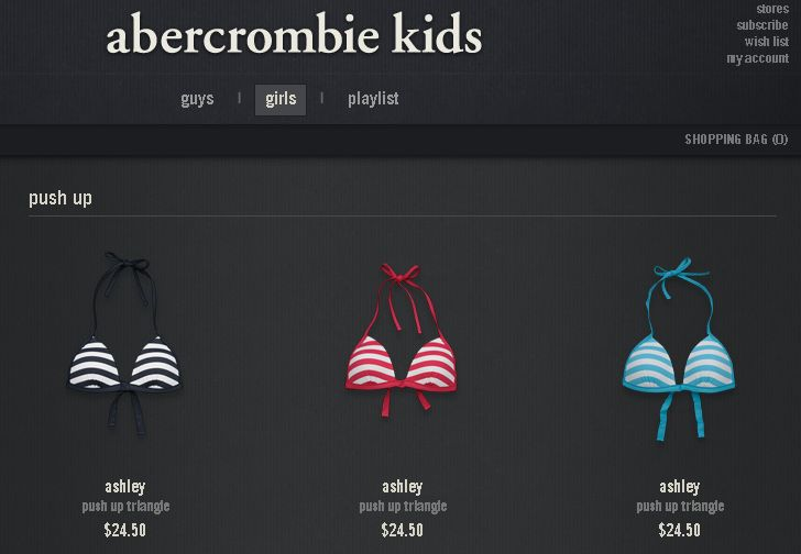 Push Up Bikini Tops at Abercrombie Kids - Sociological Images