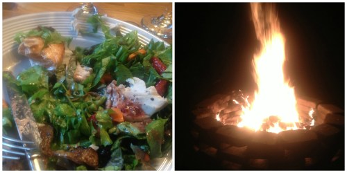 Fresh salad and a bonfire...the perfect way to end the day.