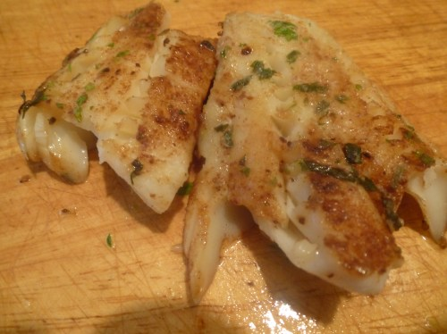 Cod with a light cumin-lime butter sauce.