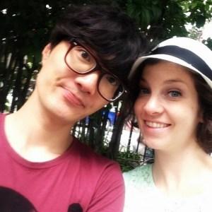 Listening to Jazz music in a park in New Orleans: Hallie & Jae-oo