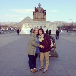 December On the Go: Mom and I in front of King Sejong