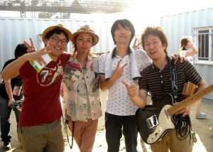 Backstage at the Busan Rock Festival in 2009 with the Japanese duo Keitaku.