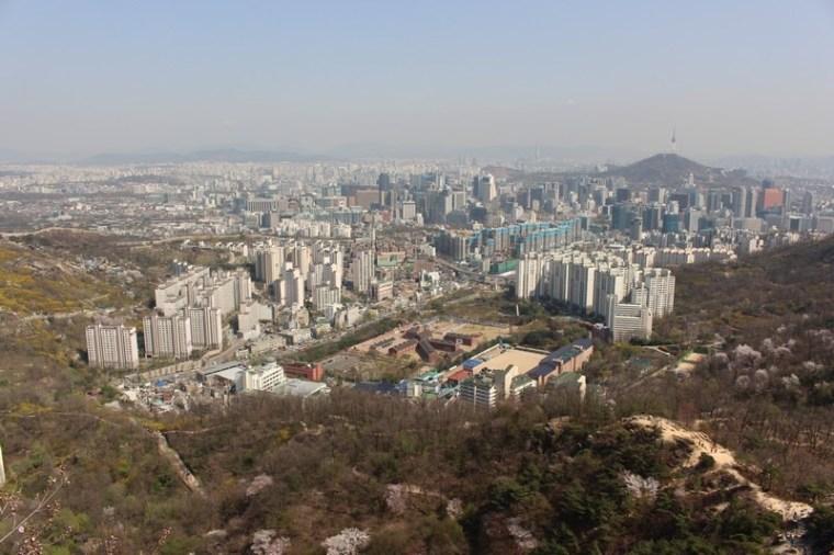 Ansan Mountain, Seodaemun-gu, Seoul, Korea, view of city from mountaintop