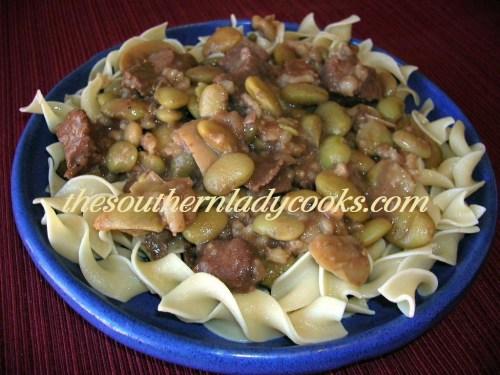 Crock Pot Stew Meat and Limas