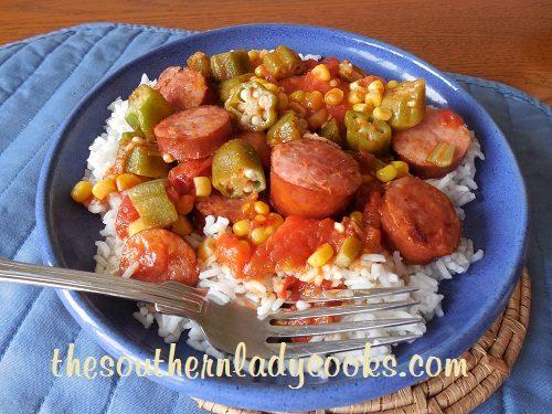 Smoked Sausage, Tomatoes and Okra Skillet - TSLC