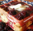 NUTTY OATMEAL WAFFLES WITH BLACKBERRY SYRUP