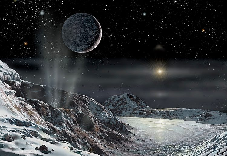 Scientific Writer Pluto and Charon, a space artist's view of the pair, with a distant ...